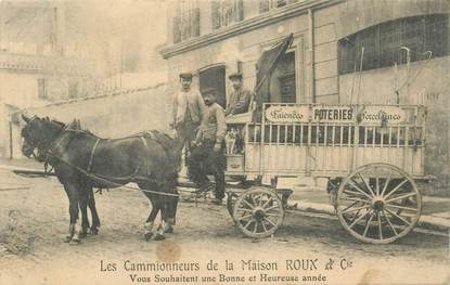"""CPA FRANCE 56 """"Kervignac, les cammionneurs de la Maison ROUX et Cie, Poterie Faïence"""""""