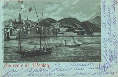 """CPA FRANCE 06 """"Menton"""" / Collection Bleu à la lune"""