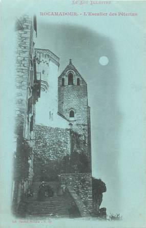 """CPA FRANCE 46 """"Rocamadour, Escalier des Pèlerins"""" / Collection Bleu à la lune"""