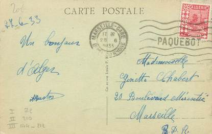 """MARCOPHILIE POSTE MARITIME sur CPA ALGERIE """"Alger"""""""
