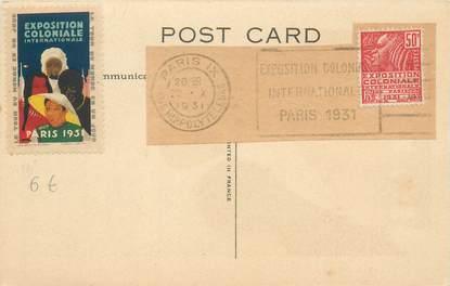 MARCOPHILIE VIGNETTE sur CPA EXPOSITION INTERNATIONALE PARIS 1931