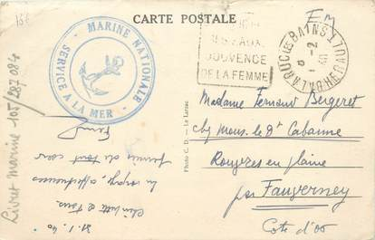"MARCOPHILIE 2 EME GUERRE sur CPA FRANCE 34 ""Balaruc"" / Marine Nationale"