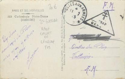 MARCOPHILIE 2 EME GUERRE sur CPA NOTRE DAME / Rare Cachet de Censure