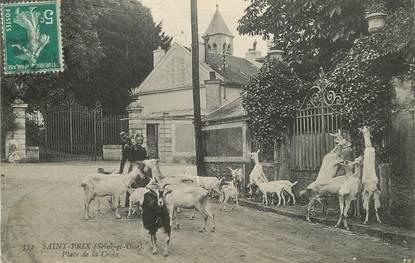 """/ CPA FRANCE 95 """"Saint Prix, place de la Croix"""" / CHEVRE"""
