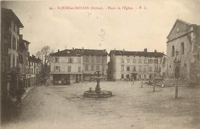 """CPA FRANCE 26 """"Saint Jean en Royans, Place de l'Eglise"""""""