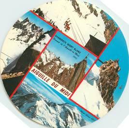 """CPSM FRANCE 74 """"Chamonix Mont Blanc, Aiguille du Midi """" / FORMAT SPECIAL en cercle"""