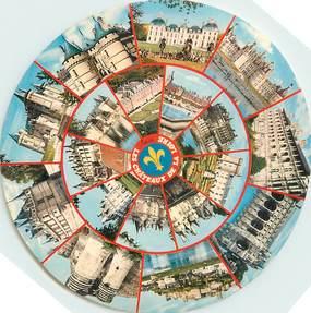 """CPSM FRANCE 41 """"Chateaux de la Loire"""" / FORMAT SPECIAL en cercle"""