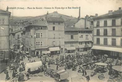 """CPA FRANCE 69 """"Tarare, la Place du Marché"""""""
