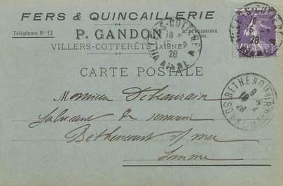 """/ CPA FRANCE 02 """"Villers Cotterêts"""" / FER / QUINCAILLERIE / CARTE PUBLICITAIRE"""