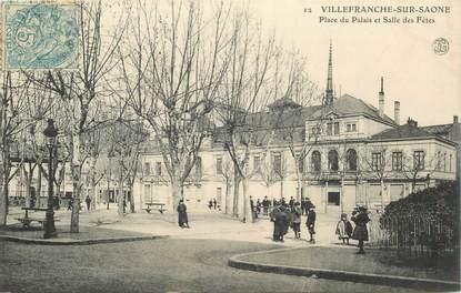 """CPA FRANCE 69 """"Villefranche sur Saône, Place du Palais et salle des Fêtes"""""""