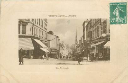 "CPA FRANCE 69 ""Villefranche sur Saône, Rue Nationale"""