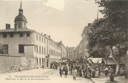 """CPA FRANCE 69 """"Villefranche sur Saône, Hotel Dieu et rue de la Sous Préfecture"""""""