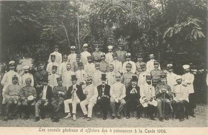 """CPA CRETE """"Les Consuls généraux et officiers des 4 puissance à la Canée, 1906"""""""