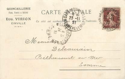 """/ CPA FRANCE 54 """"Einville"""" / QUINCAILLERIE / CARTE PUBLICITAIRE"""