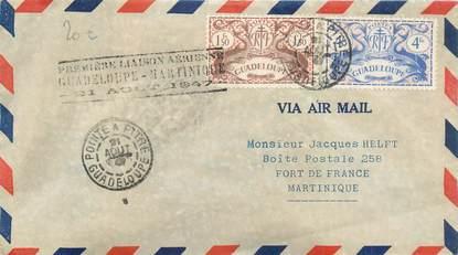 """MARCOPHILIE POSTE AERIENNE MONDE """"1ere liaison Guadeloupe / Martinique"""" sur Enveloppe"""