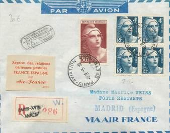 """MARCOPHILIE POSTE AERIENNE MONDE """"FRANCE / ESPAGNE"""" sur Enveloppe"""