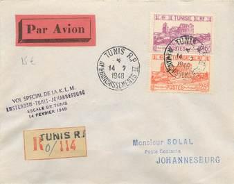 """MARCOPHILIE POSTE AERIENNE MONDE """"AMSTERDAM / TUNIS / JOHANNESBURG"""" sur Enveloppe"""