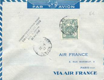 "MARCOPHILIE POSTE AERIENNE MONDE ""TUNIS / MARSEILLE / PARIS"" sur Enveloppe"