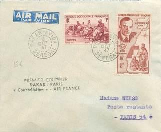 "MARCOPHILIE POSTE AERIENNE MONDE ""DAKAR / PARIS"" sur Enveloppe"
