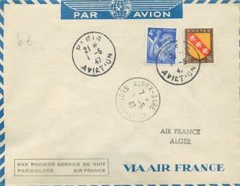 """MARCOPHILIE POSTE AERIENNE MONDE """"PARIS / ALGER"""" sur Enveloppe"""