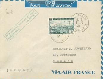 """MARCOPHILIE POSTE AERIENNE MONDE """"ALGER / PARIS"""" sur Enveloppe"""