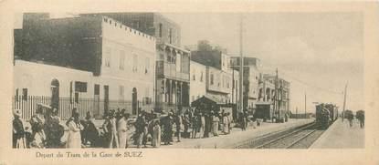 """CPA EGYPTE """"Suez, la Gare"""" / FORMAT SPÉCIAL / TRAIN"""