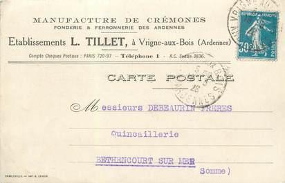 """/ CPA FRANCE 08 """"Vrigne aux bois"""" / FONDERIE / FERRONERIE / CARTE PUBLICITAIRE"""