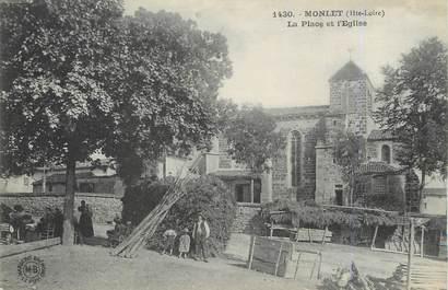 """/ CPA FRANCE 43 """"Monlet, la place et l'église"""""""