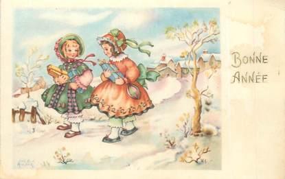 """/ CPA ILLUSTRATEUR ANDRÉ LUCE """"2 petites filles portant des cadeaux"""""""
