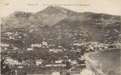 """/ CPA FRANCE 06 """"Menton, vue sur le quartier Carnolès et les montagnes"""""""