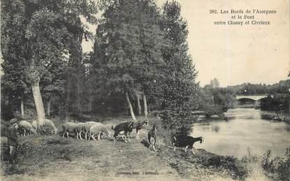 """/ CPA FRANCE 69 """"Les Bords de l'Azergues et le pont entre Chazay et Civrieux"""" / CHEVRE"""