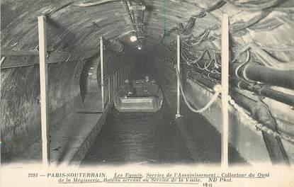 """CPA FRANCE 75 """"Paris, les Egouts, service de l'assainissement, collecteur du Quai de la Mégisserie"""""""