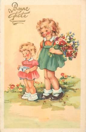 """CPA ILLUSTRATEUR ANDRE LUCE """"Petite filles et le bouquet de fleurs"""""""