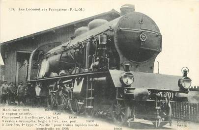 """CPA CHEMIN DE FER / TRAIN / LOCOMOTIVE  """"PLM, Machine N° 6001 à vapeur saturée"""""""
