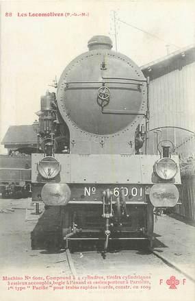 """CPA CHEMIN DE FER / TRAIN / LOCOMOTIVE  """"PLM, Machine N° 6001 pour trains rapides lourds"""""""