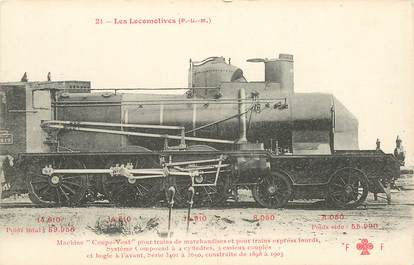 "CPA CHEMIN DE FER / TRAIN / LOCOMOTIVE  ""PLM, Machine coupe vent pour trains de marchandises"""