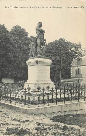 """/ CPA FRANCE 77 """"Coulommiers, statue de Beaurepaire"""""""