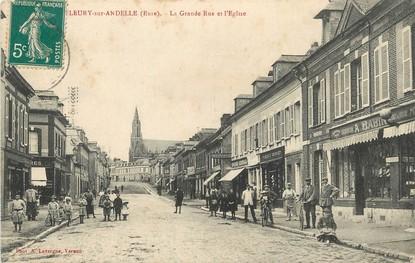 """/ CPA FRANCE 27 """"Fleury sur Andelle, la grande rue et l'église"""""""