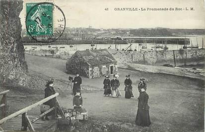 """/ CPA FRANCE 50 """"Granville, la promenade du Roc"""""""