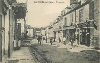 """CPA FRANCE 03 """"saint Germain des Fossés, la grande rue, chapellerie"""""""