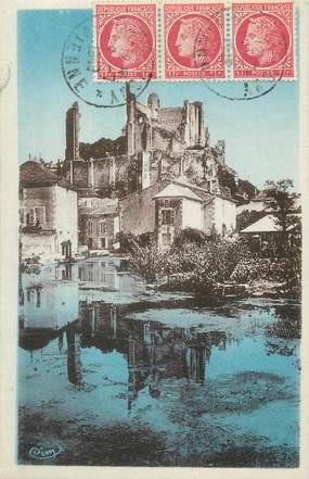 """/ CPA FRANCE 86 """"Chauvigny, ruines des châteaux avec étang"""""""