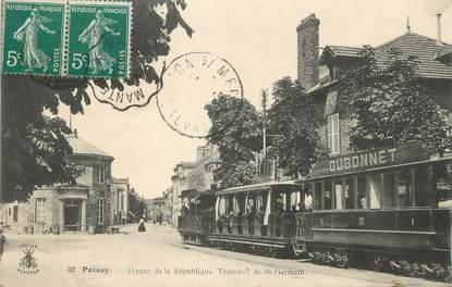 """/ CPA FRANCE 78 """"Poissy, avenue de la république"""" / TRAMWAY"""