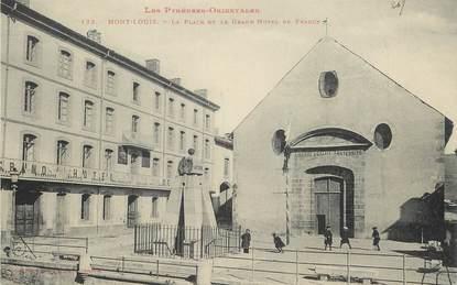 """CPA FRANCE 66 """"Mont Louis, la Place et le Grand Hotel de France"""""""