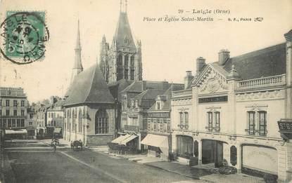 """/ CPA FRANCE 61 """"Laigle, place et église Saint Martin"""""""