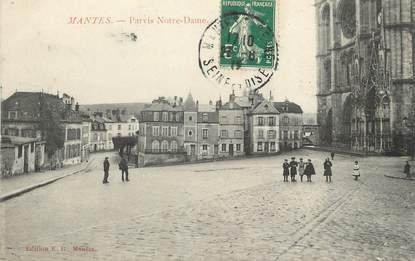 "/ CPA FRANCE 78 ""Mantes, parvis Notre Dame"""