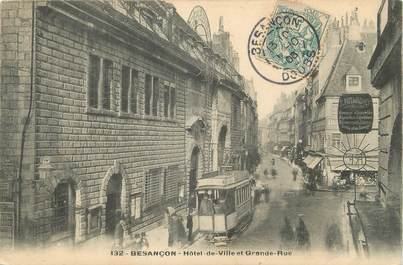 "/ CPA FRANCE 25 ""Besançon, hôtel de ville et grande rue"" / TRAMWAY"
