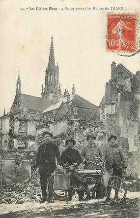 """/ CPA FRANCE 68 """"4 poilus devant les ruines de Thann"""" / MOTO"""