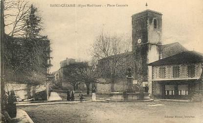 """CPA FRANCE 06 """"Saint Cézaire, la place centrale"""""""
