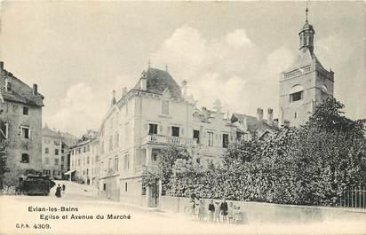 """CPA FRANCE 74  """"Evian les Bains, Eglise et avenue du Marché"""""""