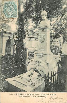 """CPA FRANCE 75018 """"Paris, Cimetière Montmartre, monument d'Henri Heine"""""""